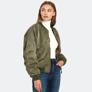 NWOT ARMY GREEN THIN BOMBER JACKET L